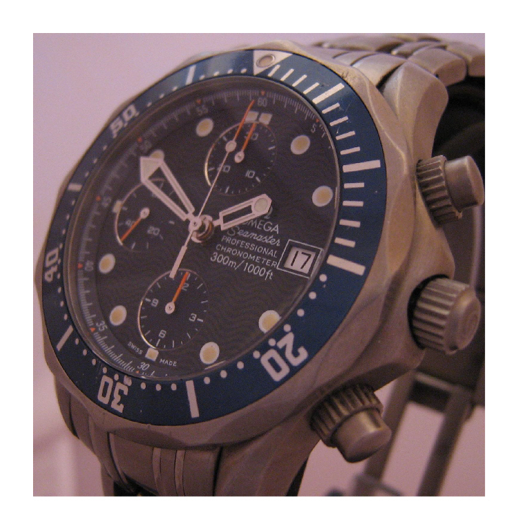 pre owned omega titanium seamaster chronograph blue dial used omega secondhand omega seamaster automatic chronograph swiss watches gents watches mens watches divers watches titanium watches