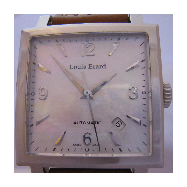 Louis Erard La Carree Automatic Watch, Mother Of Pearl Dial With Leather Strap