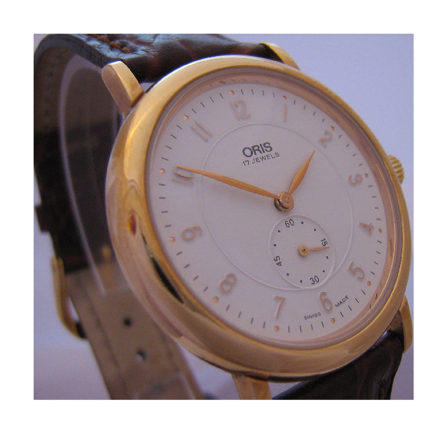 Oris Classic Gold Watch, White Dial With Brown Leather Strap