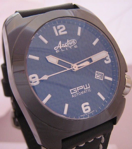 Arctos GPW K1 Ceramic Watch, Black Dial With Leather Strap