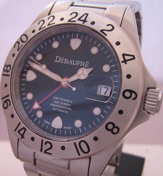 Debaufre Ocean 2 GMT Divers Watch, Black Dial With Stainless Steel Bracelet
