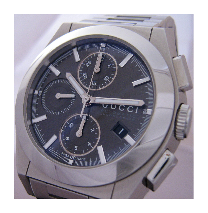 Gucci Pantheon Chronograph, Black Dial With Stainless Steel Bracelet