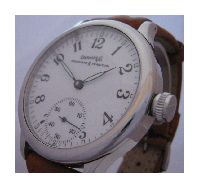 Eberhard & Co Traversetolo Hand Winding Watch, White Dial With Leather Strap