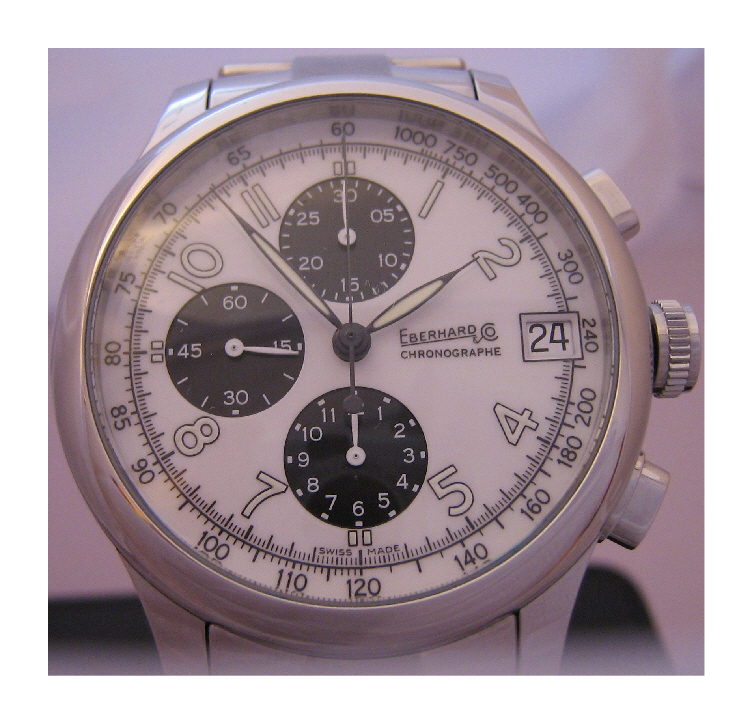 Eberhard & Co Traversetolo Chronograph, White Dial With Steel Bracelet