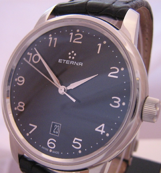 Eterna Soleure Automatic Watch, Black Dial With Leather Strap