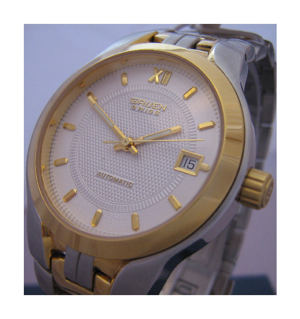 Gruen Swiss Automatic Watch, Gold & Stainless Steel Case And Bracelet