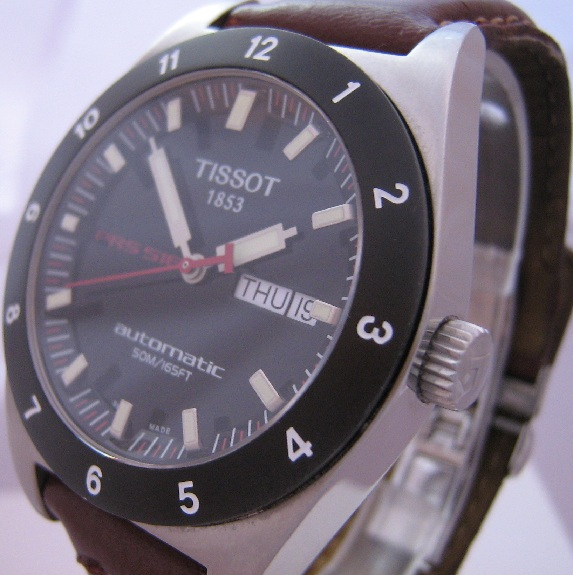 Tissot PRS 516 Automatic, Black Dial With Leather Strap