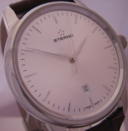 Eterna Soleure Automatic Watch, Silver Dial With Leather Strap