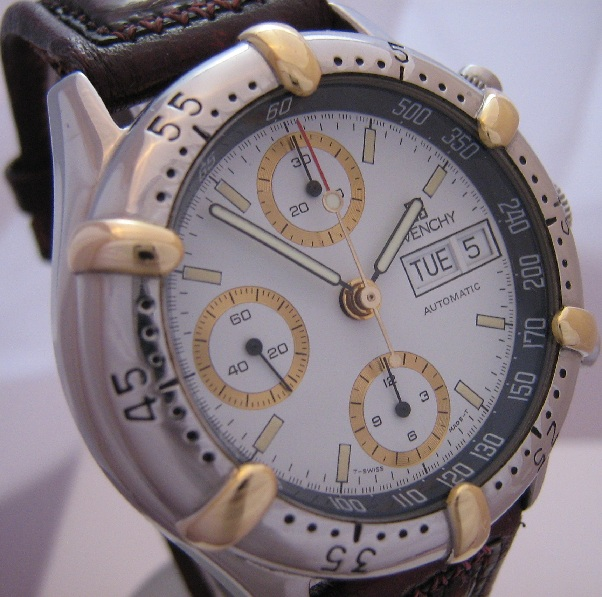 Givenchy  Newport Chronograph, White Dial With Leather Strap
