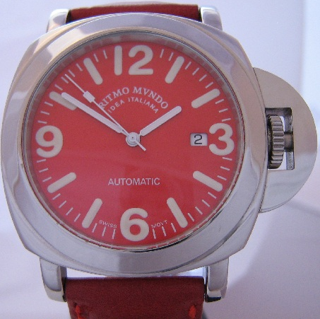 Ritmo Mvndo Ponte Automatic Watch, Red Dial, Red Strap