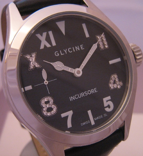 Glycine Incursore 44MM Diamonds, Black Dial, Leather Straps