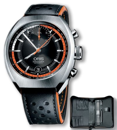 Used Oris Chronoris, Black Dial With Leather Strap & Steel Bracelet