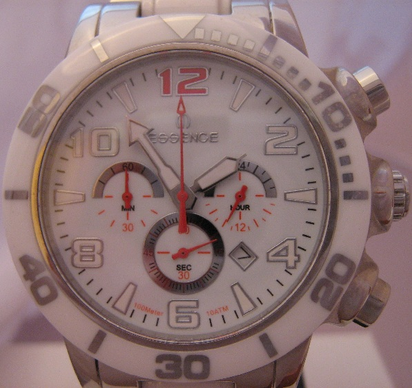 Essence Quartz Ceramic Chronograph, White Dial, Ceramic & Steel Bracelet