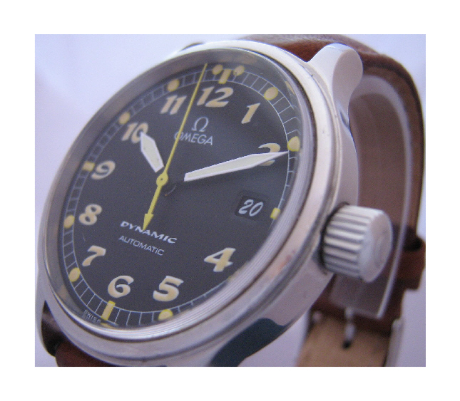 Omega Dynamic Automatic Watch, Black Dial With Brown Leather Strap