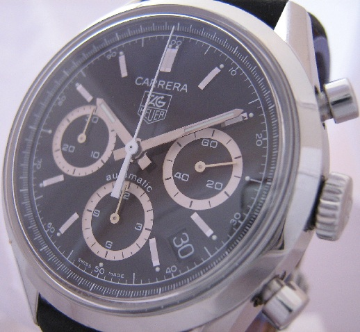 Tag Heuer Carrera Classic Chronograph, Black Dial, Leather Strap