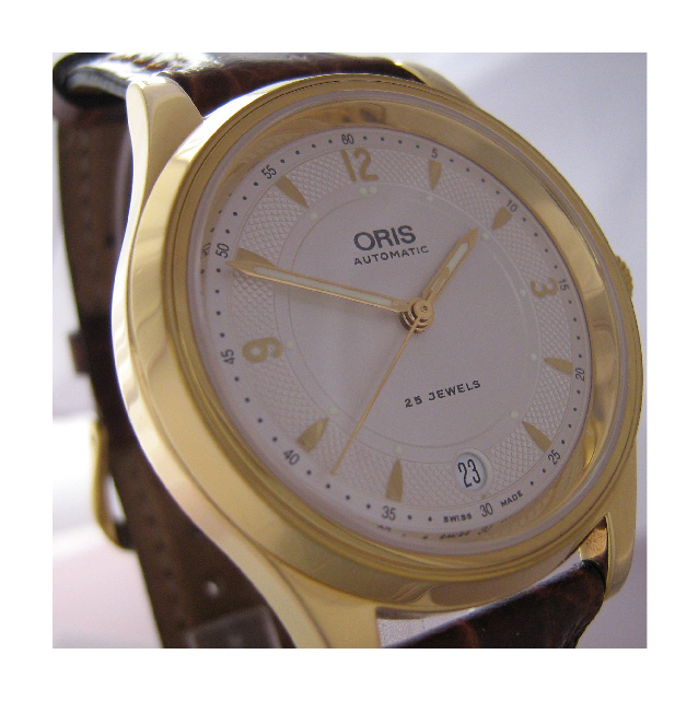 Oris Modern Classic Gold Watch, White Dial With Brown Leather Strap