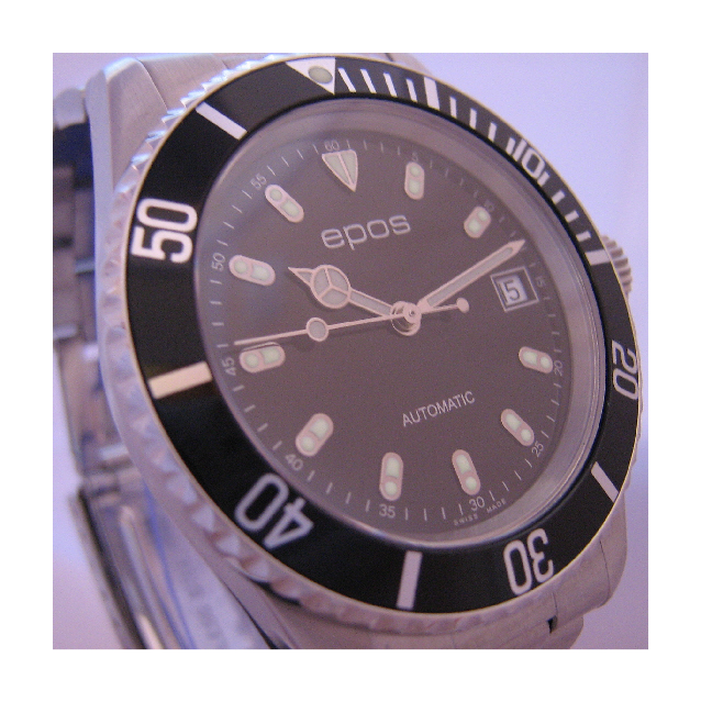 Epos Sportive Divers Watch, Black Dial With Stainless Steel Bracelet