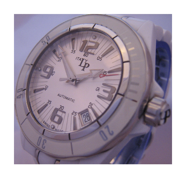 Lucien Piccard Celano Ceramic Watch, White Dial With Ceramic Bracelet