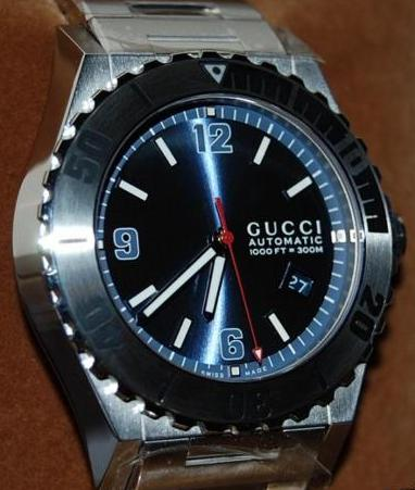 Gucci Pantheon Divers Watch, Blue Dial With Stainless Steel Bracelet