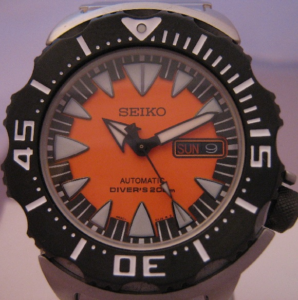 Seiko New Style Orange Monster, Orange Dial, Steel Bracelet