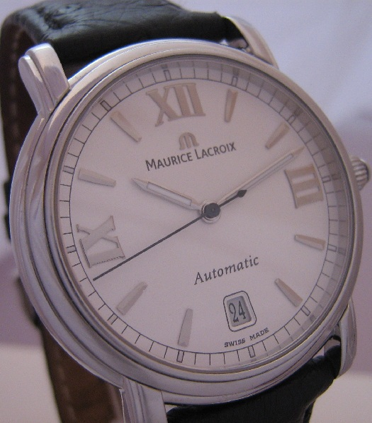 Maurice Lacroix Pontos Automatic, White Dial With Leather Strap