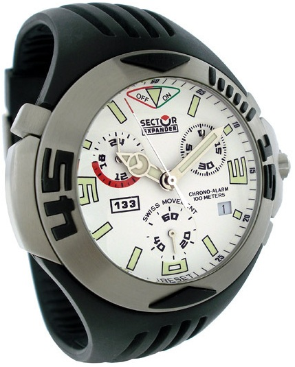 Sector 133 Chrono Alarm, White Dial With Rubber Strap