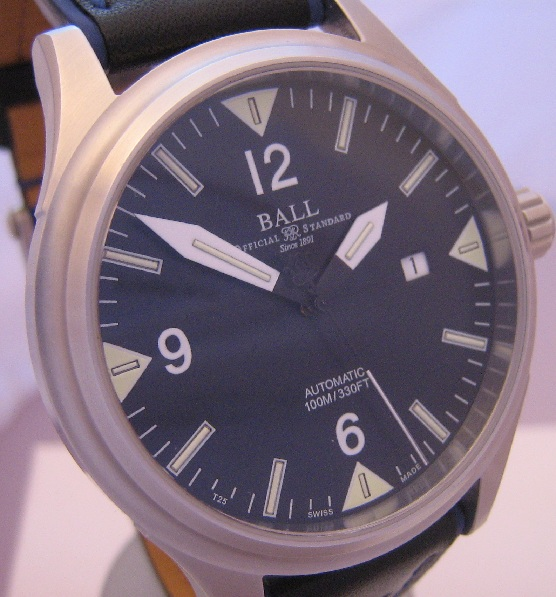Ball Fireman II, Black Dial With Black Leather Strap