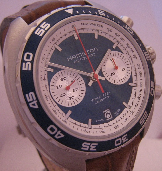 Hamilton Pan Europ 1971 Chronograph, Blue Dial, Leather Strap