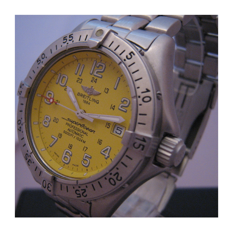 Breitling Superocean Professional, Yellow Dial, Steel and Rubber Bracelets