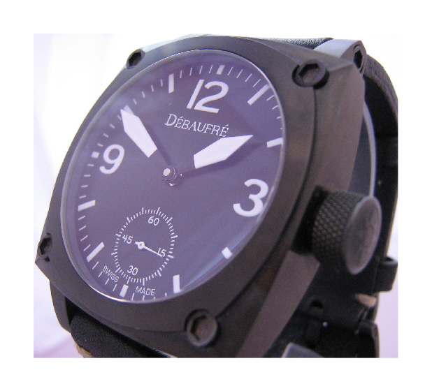 Airforce White Hand Winding Watch, Black Dial With Leather Strap