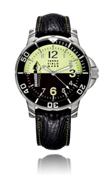 Buto Diver Automatic Watch, Black/Green Dial With Leather Strap
