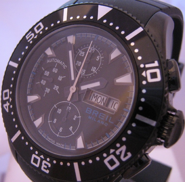 Breil Manta Automatic Chronograph, Black Dial With Rubber Strap