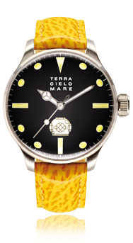 Palombaro Divers Watch, Black Dial With Leather Strap