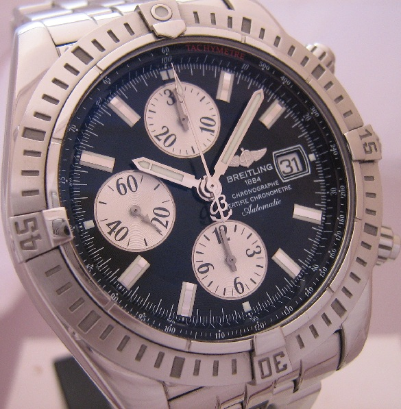 Breitling Chronomat Evolution, Black Dial, Steel Bracelet