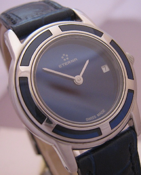 Eterna Galaxis Ladies, Blue Dial With Leather Strap