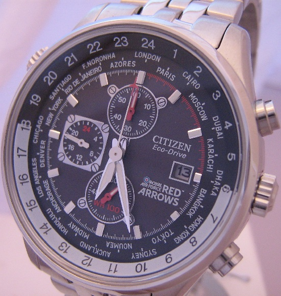 Citizen Eco Drive Red Arrows Chronograph, Black Dial With Bracelet