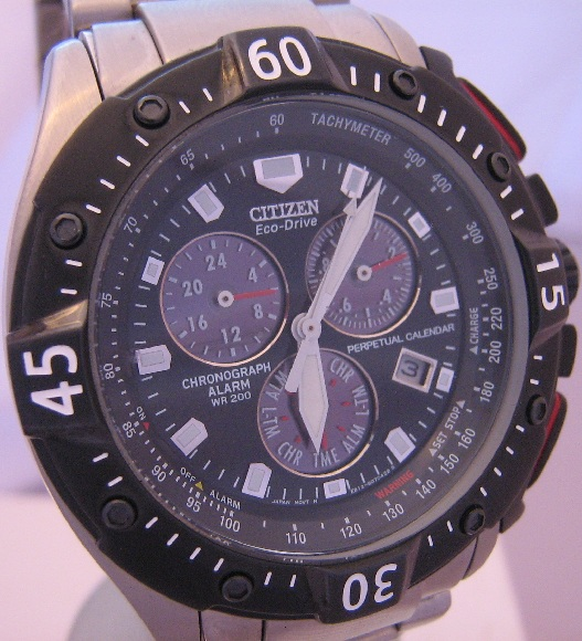 Citizen Eco Drive Perpetual Calendar Chronograph, Black Dial With Bracelet