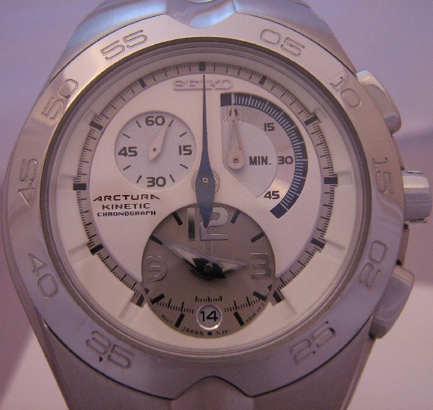 Seiko Arctura Kinetic Chronograph, White Dial, Steel Bracelet