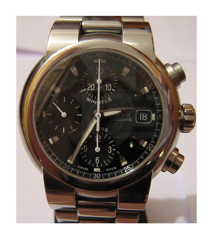 Used Oris TT1 Chronograph, Black Dial With Stainless Steel Bracelet