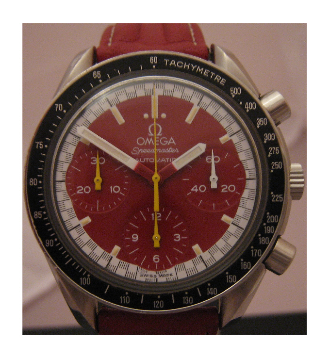 Omega Speedmaster Schumacher, Red Dial With Red Leather Strap