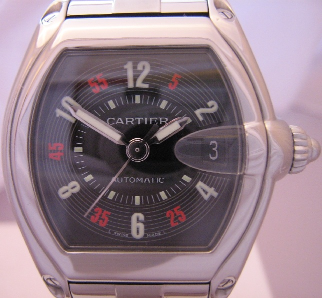 Cartier Roadster Automatic, Black Las Vegas Dial, Stainless Steel Bracelet