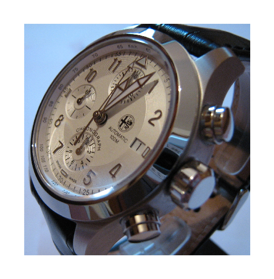 Alfa Romeo Automatic Chronograph, Silver Dial, Leather Strap