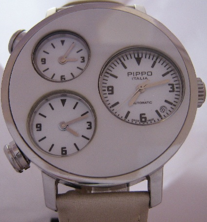 Pippo Italia Lifetime Watch, White Dial With Two Straps