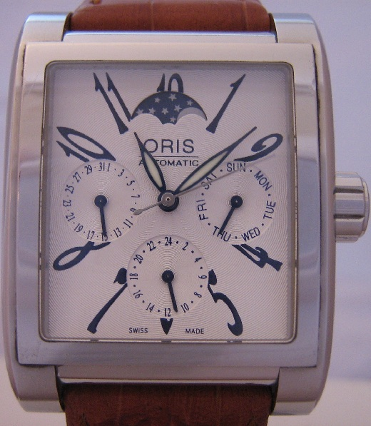 Oris Miles Complication Moonphase, Silver Dial With Leather Strap