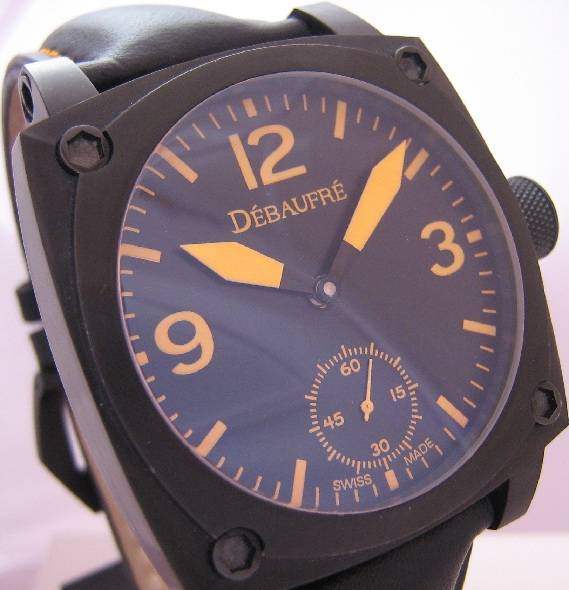 Debaufre Airforce Orange Watch, Black Dial With Leather Strap