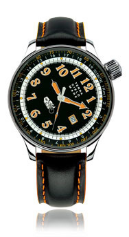 Joe Petrali Automatic Watch, Black Dial With Leather Strap