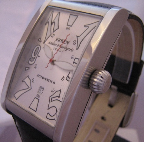Erken Tegolo Automatic Watch, Silver Dial With Leather Strap