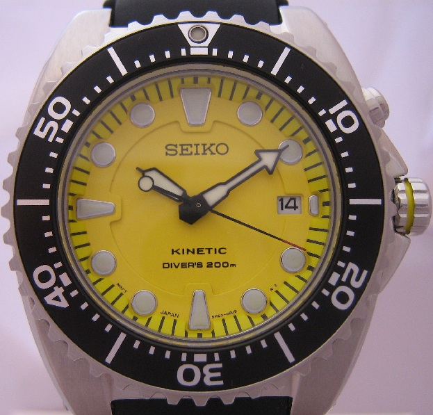 Seiko Kinetic Divers, Yellow Dial, Black Rubber Strap