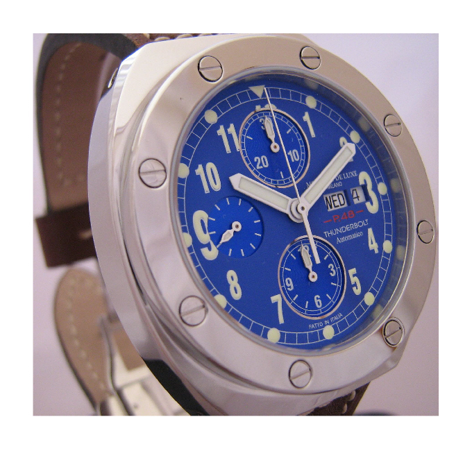Thunderbolt Automatic Chronograph, Blue Dial With Brown Leather Strap