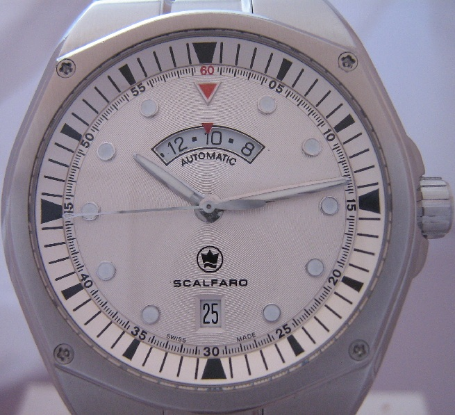 Scalfaro Cap Ferrat Second Time Zone, Silver Dial, Leather Strap